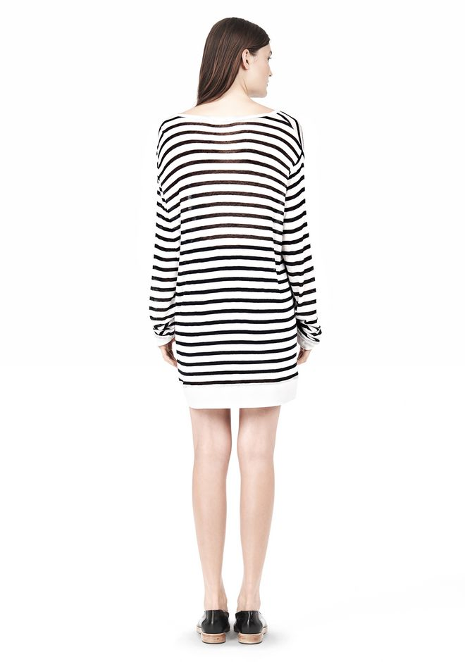 T by ALEXANDER WANG STRIPE RAYON LINEN LONG SLEEVE TEE TOP Adult 12_n_r