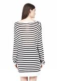 T by ALEXANDER WANG STRIPE RAYON LINEN LONG SLEEVE TEE TOP Adult 8_n_d