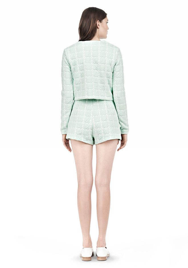 GRID JACQUARD BONDED NEOPRENE LONG SLEEVE TOP