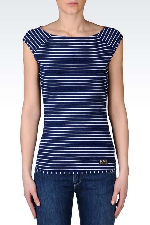STRIPED T-SHIRT IN STRETCH COTTON : Short sleeved t-shirts Women by Armani - 2