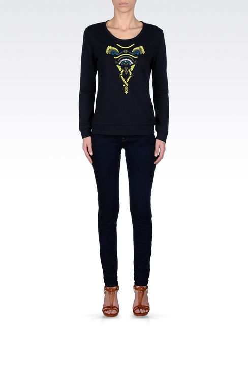COTTON SWEATSHIRT WITH TRIBAL EMBROIDERY: Sweatshirts Women by Armani - 1