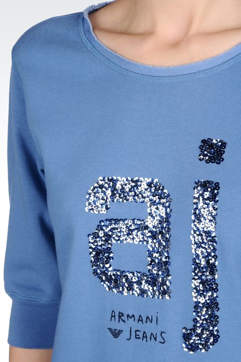 COTTON T-SHIRT WITH SEQUINED LOGO: Sweatshirts Women by Armani - 4