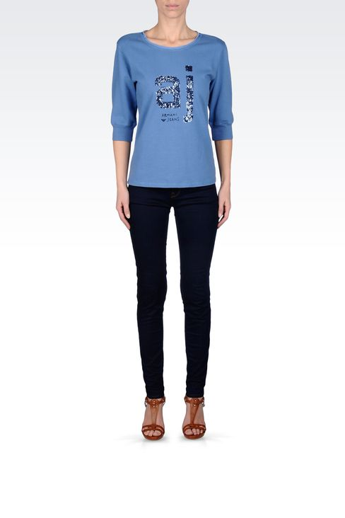 COTTON T-SHIRT WITH SEQUINED LOGO: Sweatshirts Women by Armani - 1