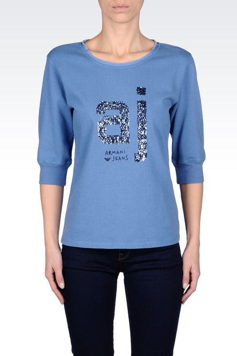 COTTON T-SHIRT WITH SEQUINED LOGO: Sweatshirts Women by Armani - 2