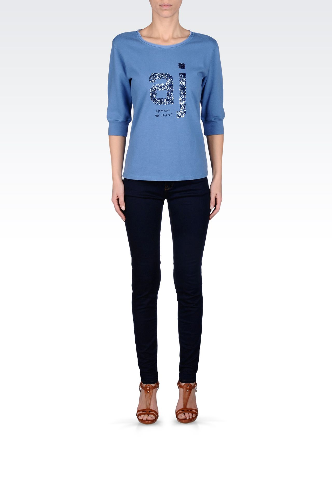COTTON T-SHIRT WITH SEQUINED LOGO: Sweatshirts Women by Armani - 0