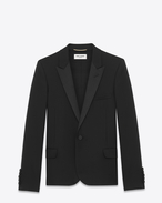 Iconic Le Smoking Cropped Jacket in Black Grain de Poudre Textured Wool