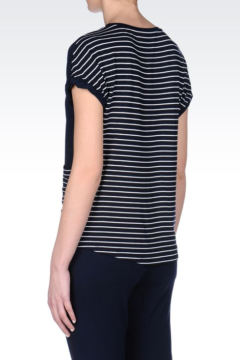 T-SHIRT IN STRECH VISCOSE JERSEY: Short sleeved t-shirts Women by Armani - 3