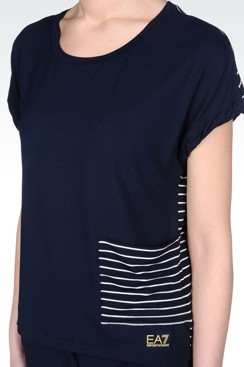 T-SHIRT IN STRECH VISCOSE JERSEY: Short sleeved t-shirts Women by Armani - 4