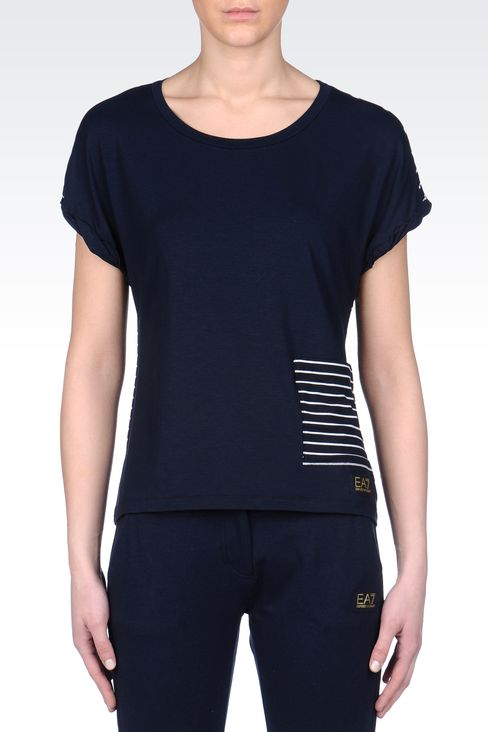 T-SHIRT IN STRECH VISCOSE JERSEY: Short sleeved t-shirts Women by Armani - 2