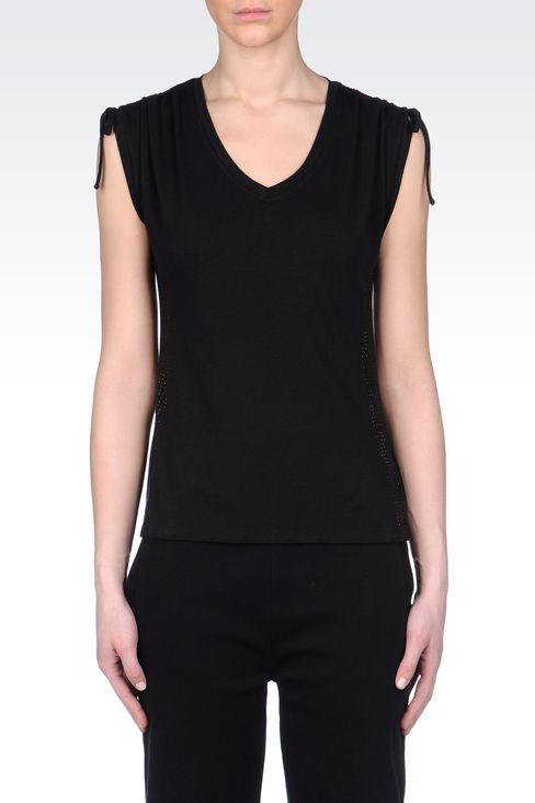 T-SHIRT IN JERSEY WITH RHINESTONES: Short sleeved t-shirts Women by Armani - 2