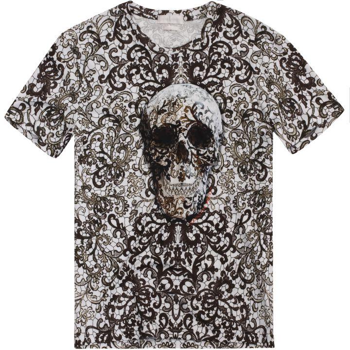 Alexander McQueen, Skull Lace Print T-Shirt