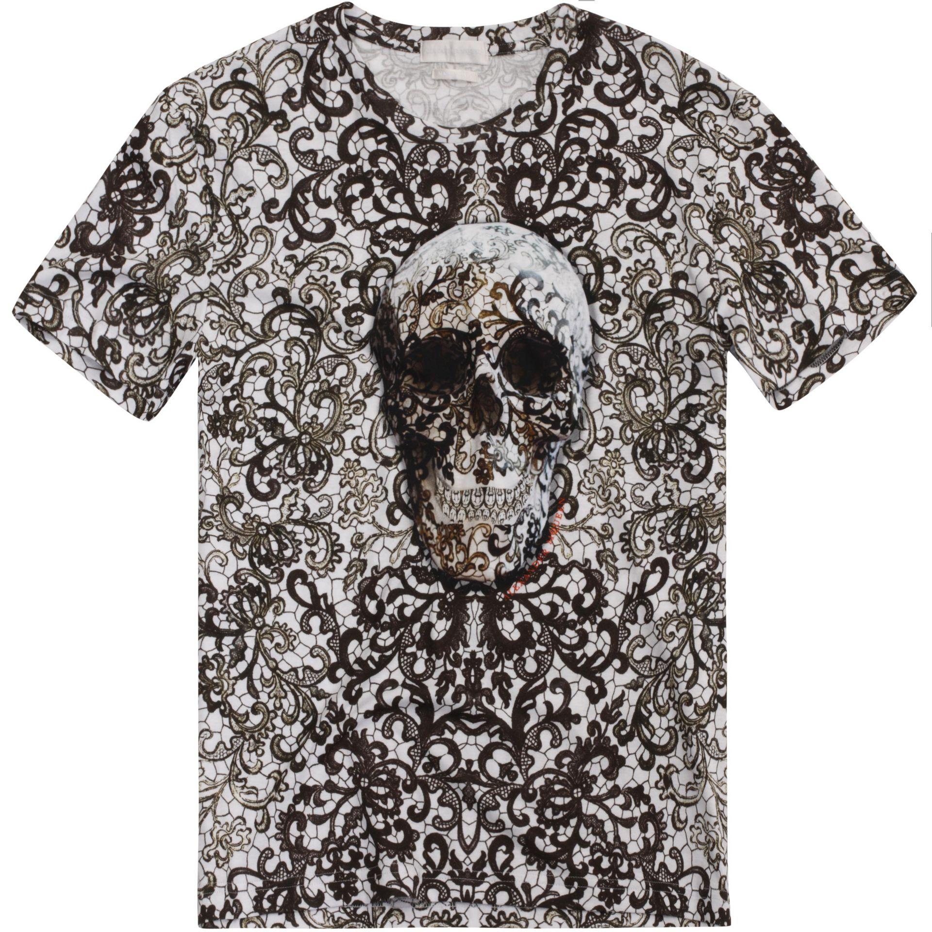 Skull Lace Print T Shirt Alexander McQueen | Skull T Shirt ...