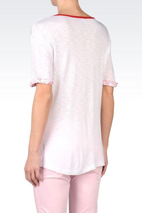 OVERSIZE T-SHIRT IN SLUB VISCOSE JERSEY: Print t-shirts Women by Armani - 3