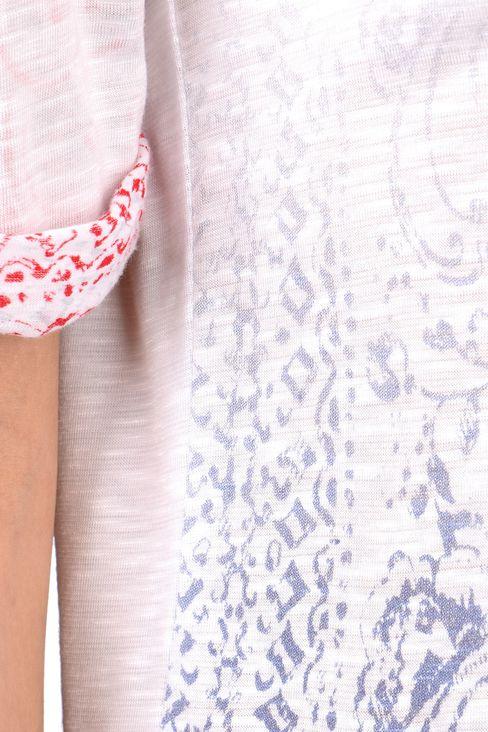 OVERSIZE T-SHIRT IN SLUB VISCOSE JERSEY: Print t-shirts Women by Armani - 4
