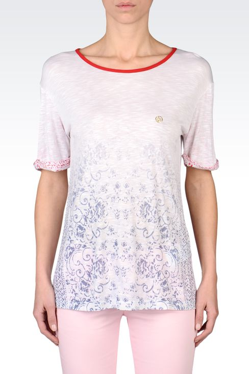 OVERSIZE T-SHIRT IN SLUB VISCOSE JERSEY: Print t-shirts Women by Armani - 2