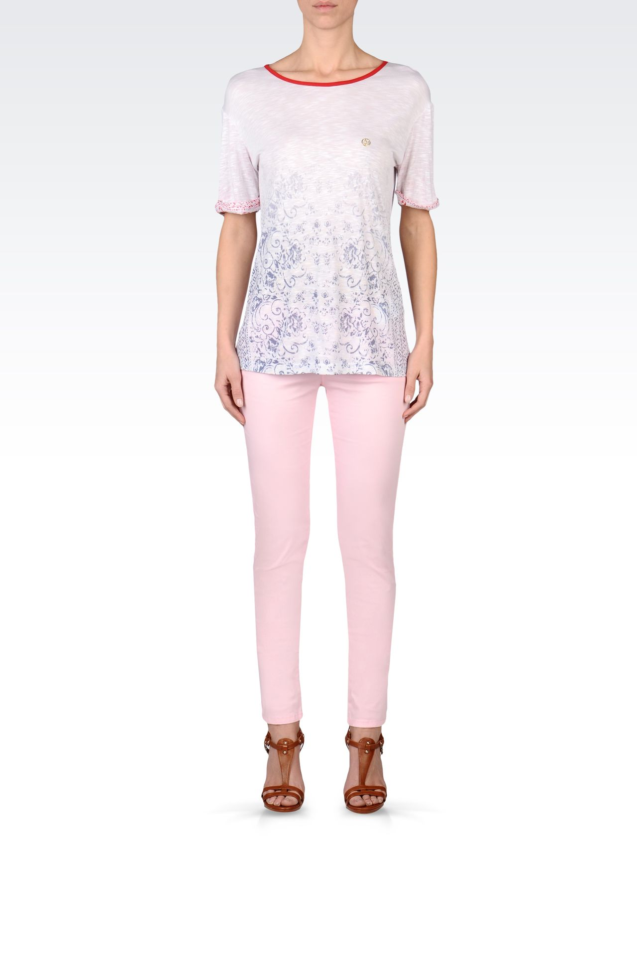 OVERSIZE T-SHIRT IN SLUB VISCOSE JERSEY: Print t-shirts Women by Armani - 0