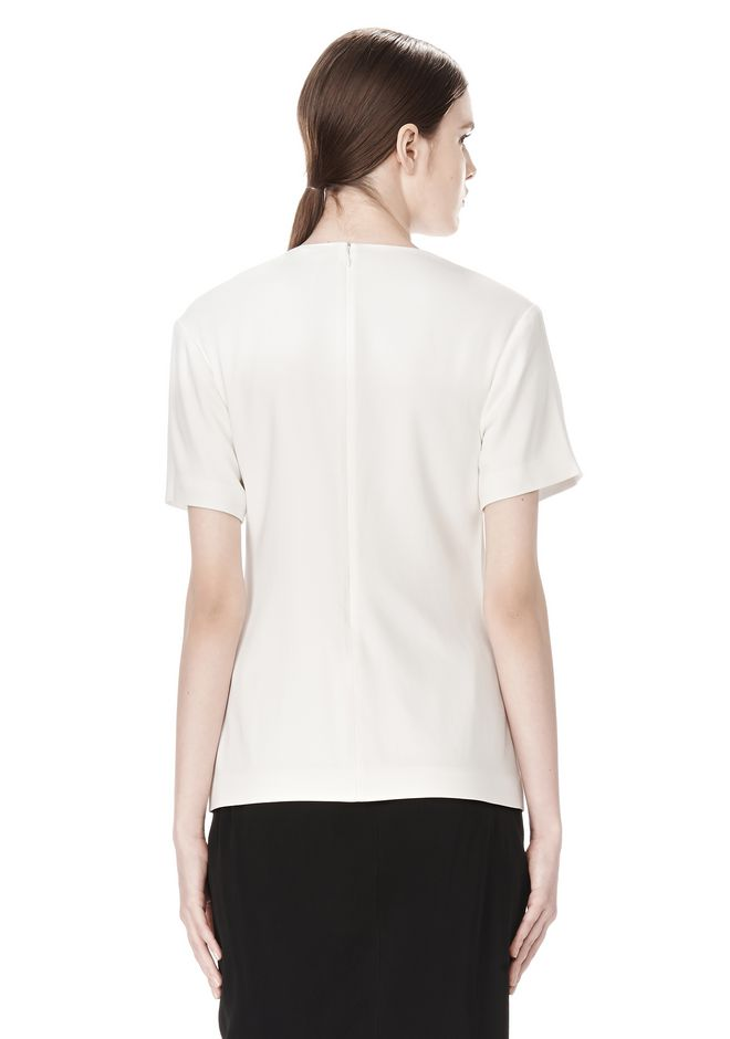 ALEXANDER WANG EXCLUSIVE GATHERED CASCADE TEE TOP Adult 12_n_d