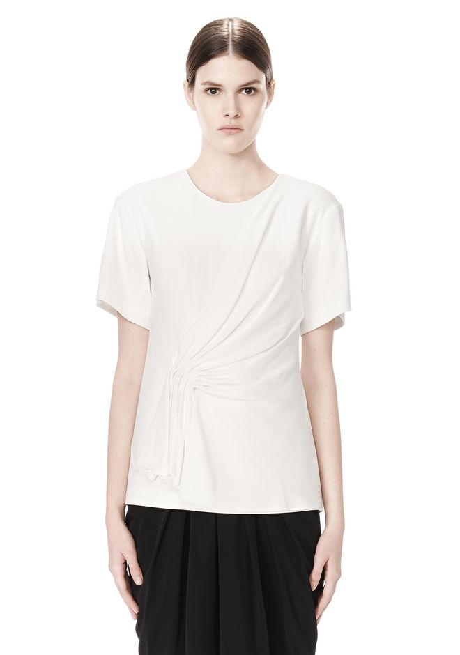 ALEXANDER WANG EXCLUSIVE GATHERED CASCADE TEE TOP Adult 12_n_e