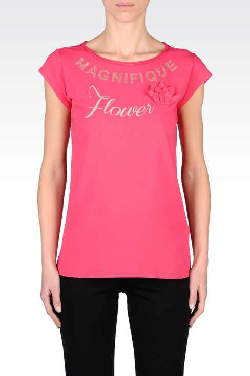 STRETCH COTTON T-SHIRT WITH FLOWER APPLIQUÉ: Short-sleeve t-shirts Women by Armani - 2