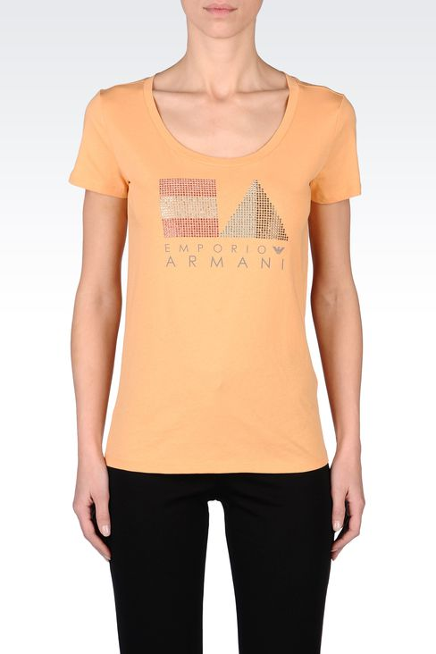COTTON T-SHIRT WITH RHINESTONES: Short-sleeve t-shirts Women by Armani - 2
