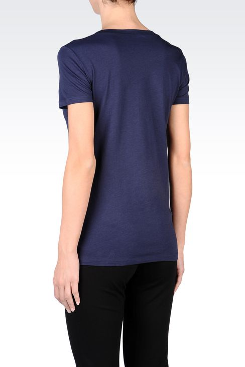 COTTON T-SHIRT WITH RHINESTONES: Short-sleeve t-shirts Women by Armani - 3