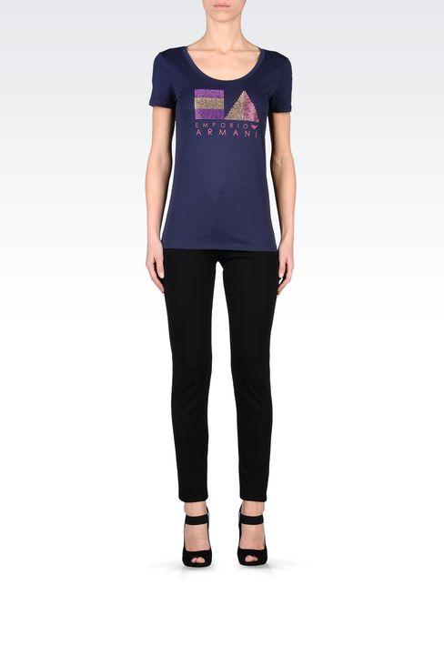 COTTON T-SHIRT WITH RHINESTONES: Short-sleeve t-shirts Women by Armani - 1