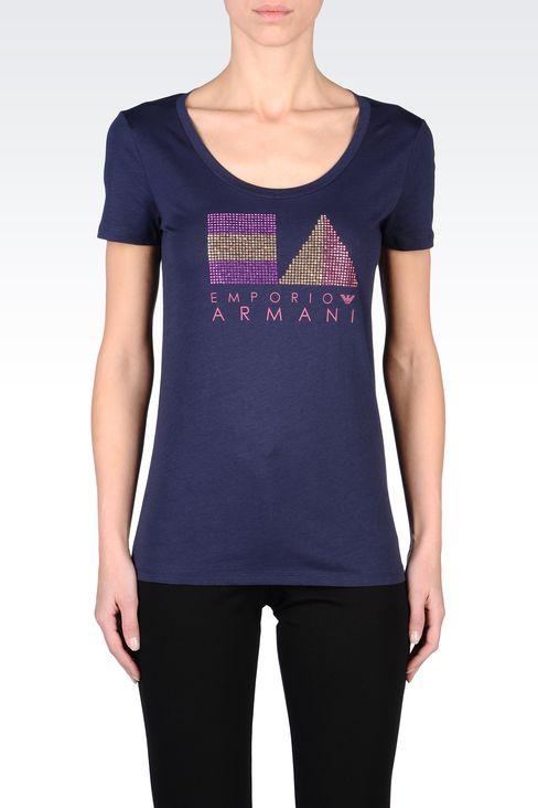 COTTON T-SHIRT WITH RHINESTONES: Short-sleeve t-shirts Women by Armani - 2