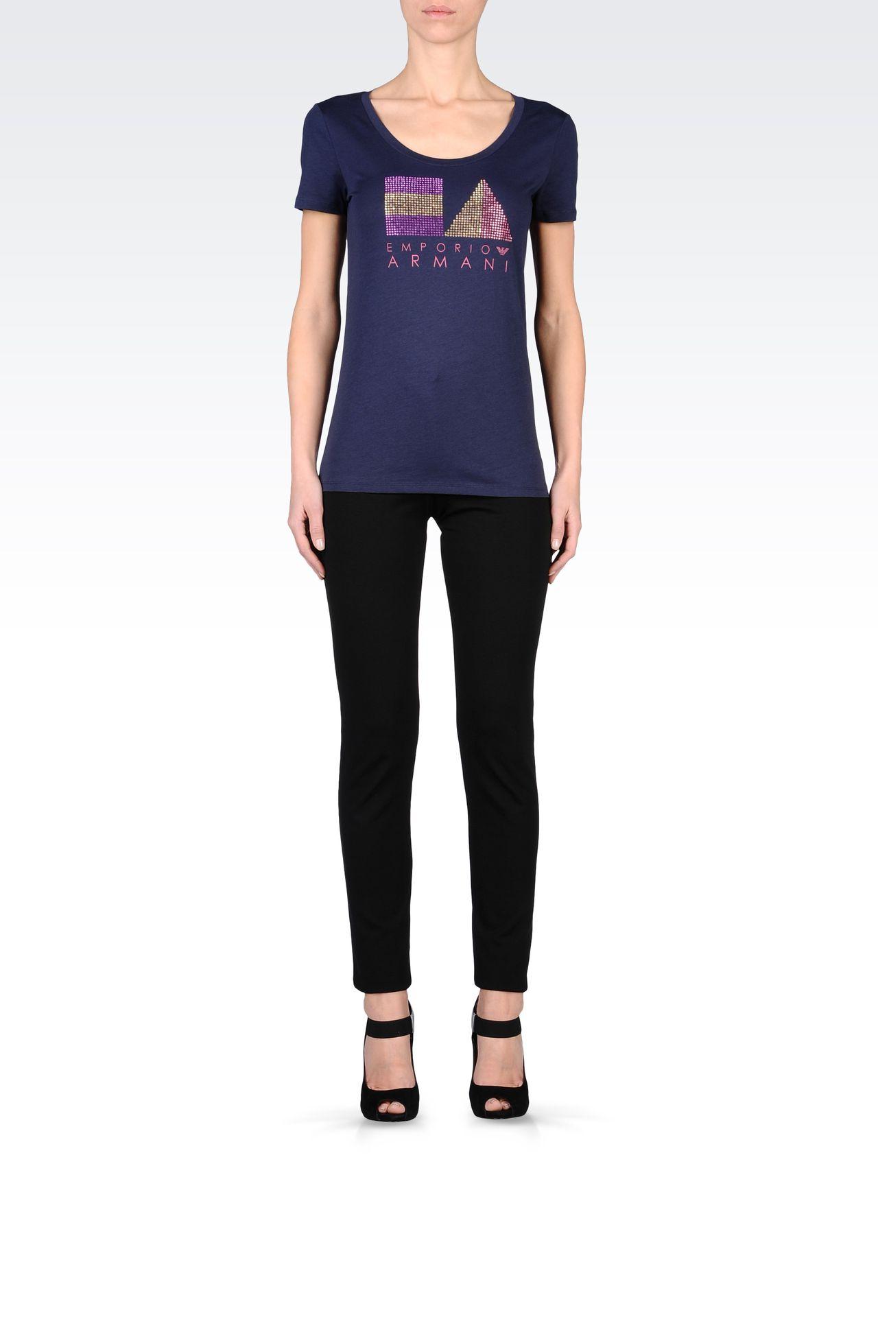 COTTON T-SHIRT WITH RHINESTONES: Short-sleeve t-shirts Women by Armani - 0