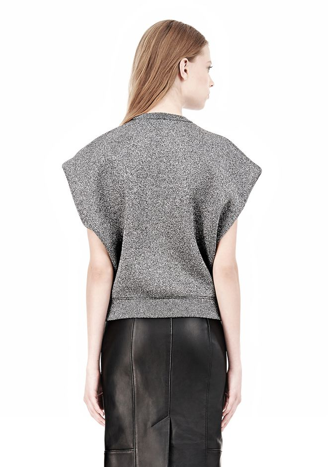 CROPPED LUREX MUSCLE PULLOVER