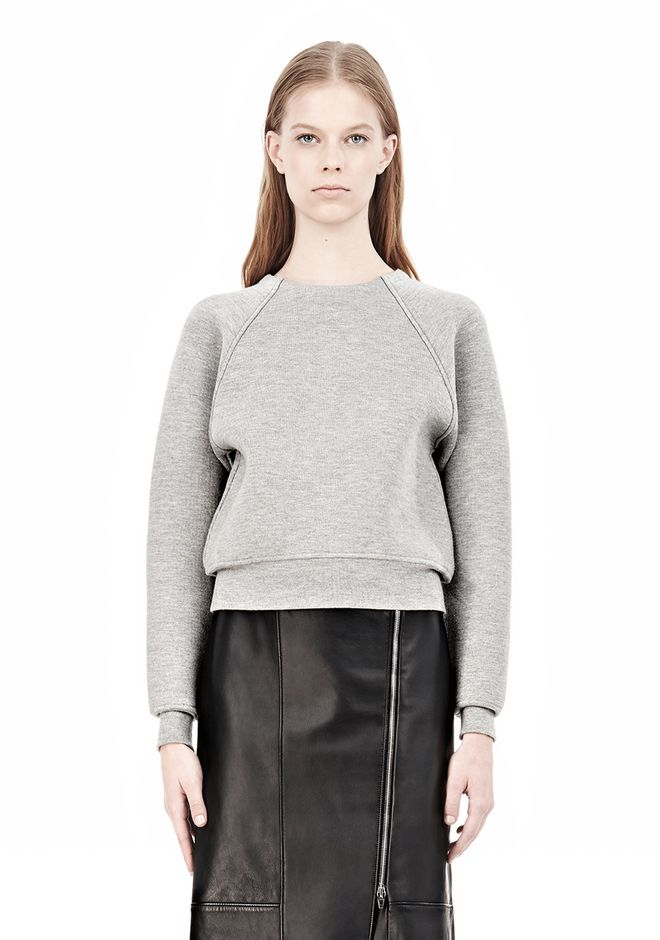 ALEXANDER WANG DOUBLE FACED CROP PULLOVER NEOPRENE Crewneck Adult 12_n_e