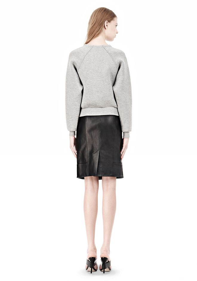 ALEXANDER WANG DOUBLE FACED CROP PULLOVER NEOPRENE Crewneck Adult 12_n_r