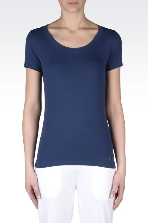 T-SHIRT IN STRETCH COTTON WITH LOGO: Short sleeved t-shirts Women by Armani - 2