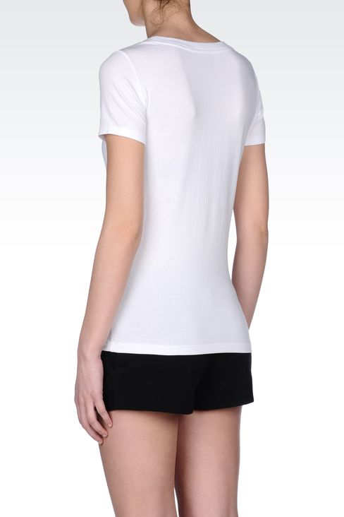 T-SHIRT IN STRETCH COTTON WITH LOGO: Short sleeved t-shirts Women by Armani - 3