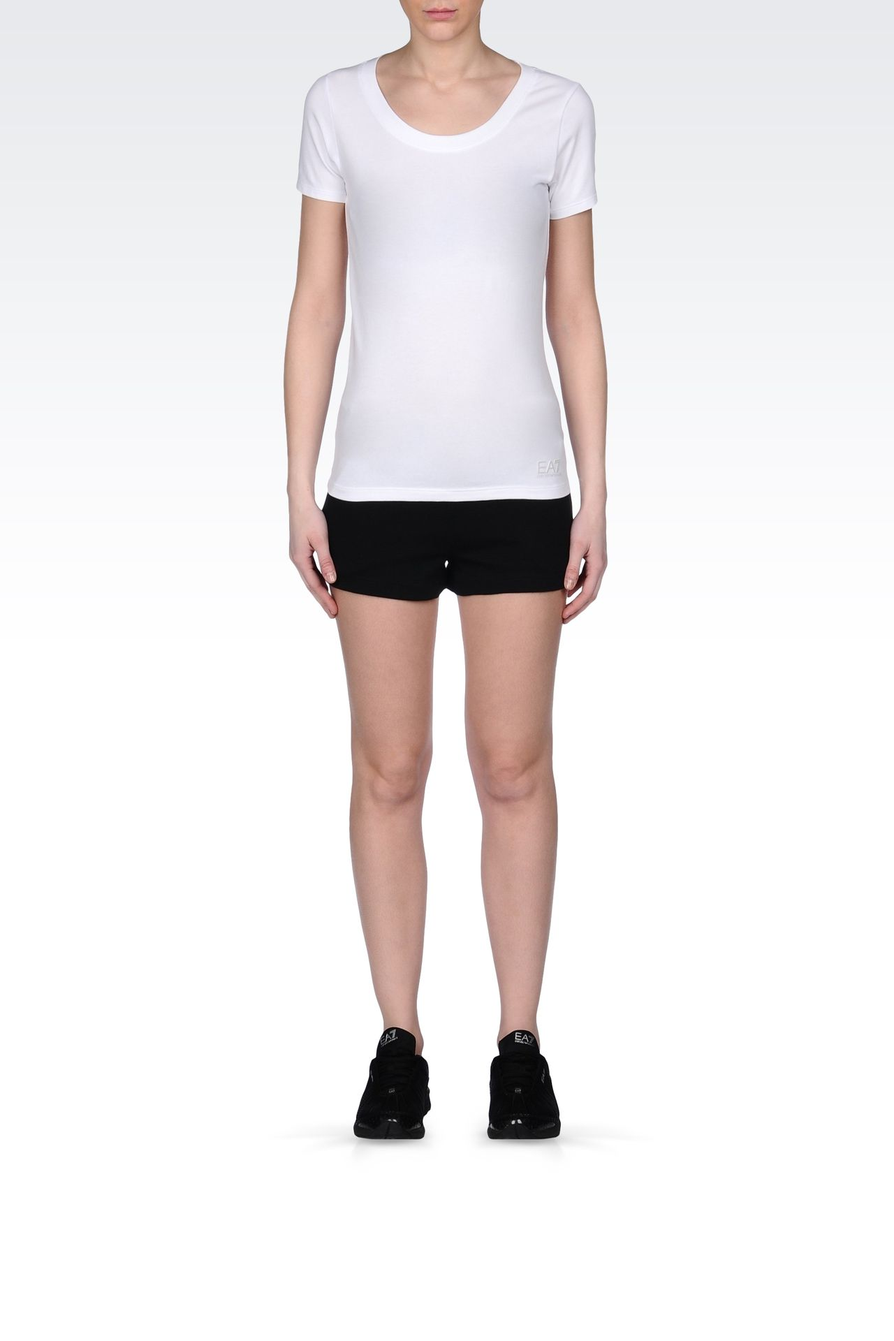 T-SHIRT IN STRETCH COTTON WITH LOGO: Short sleeved t-shirts Women by Armani - 0