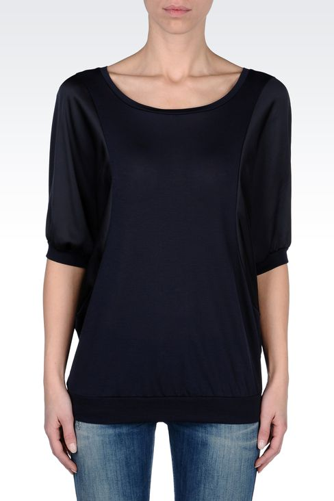 OVERSIZE SWEATER IN MICRO MODAL JERSEY: Print t-shirts Women by Armani - 2
