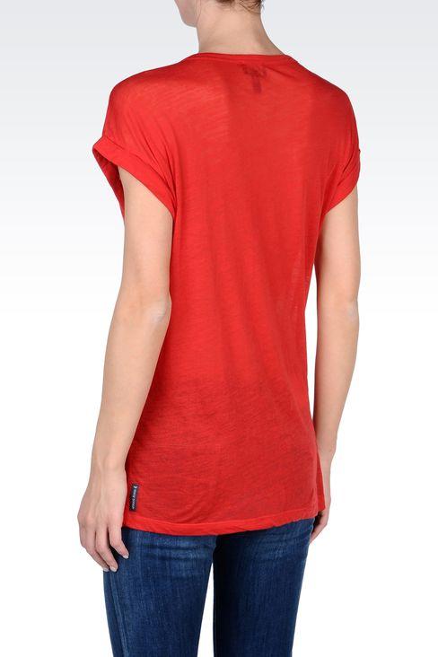 COTTON T-SHIRT WITH LOGO PRINT: Print t-shirts Women by Armani - 3