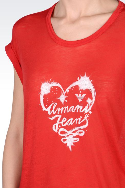 COTTON T-SHIRT WITH LOGO PRINT: Print t-shirts Women by Armani - 4