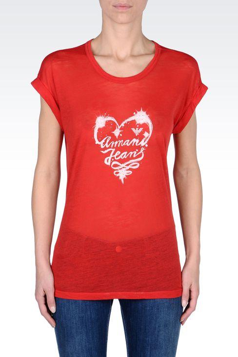 COTTON T-SHIRT WITH LOGO PRINT: Print t-shirts Women by Armani - 2