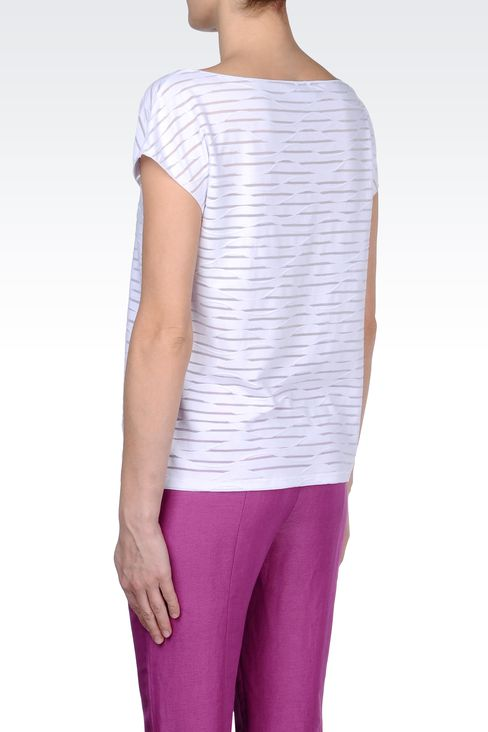 STRIPED COTTON BOAT NECK T-SHIRT: Print t-shirts Women by Armani - 3