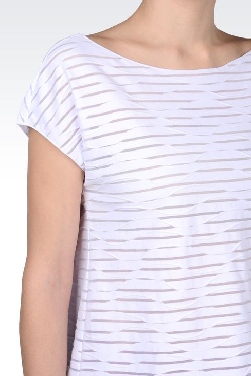 STRIPED COTTON BOAT NECK T-SHIRT: Print t-shirts Women by Armani - 4
