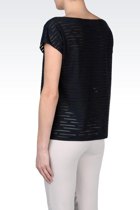 STRIPED COTTON BOAT NECK T-SHIRT: Print t-shirts Women by Armani - 3