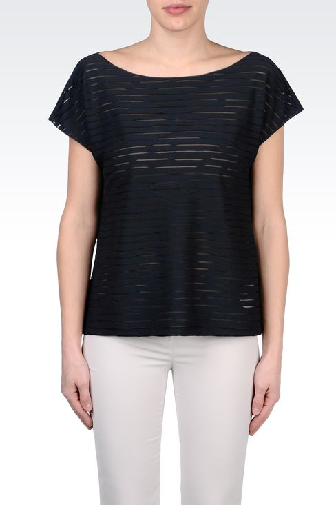 STRIPED COTTON BOAT NECK T-SHIRT: Print t-shirts Women by Armani - 2