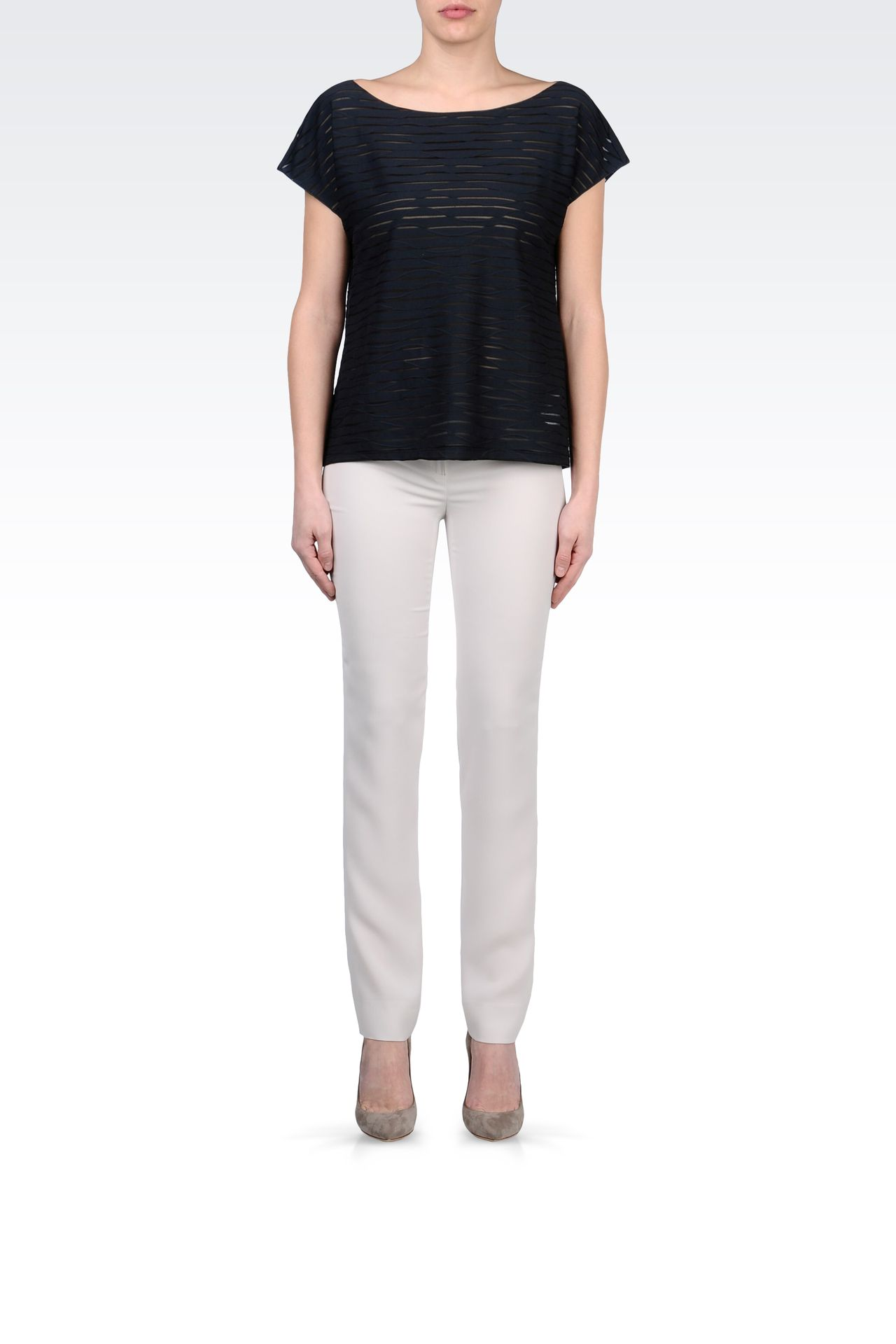 STRIPED COTTON BOAT NECK T-SHIRT: Print t-shirts Women by Armani - 0