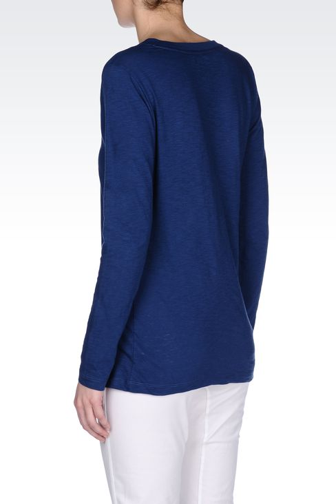 V NECK COTTON T-SHIRT: Long sleeved t-shirts Women by Armani - 3
