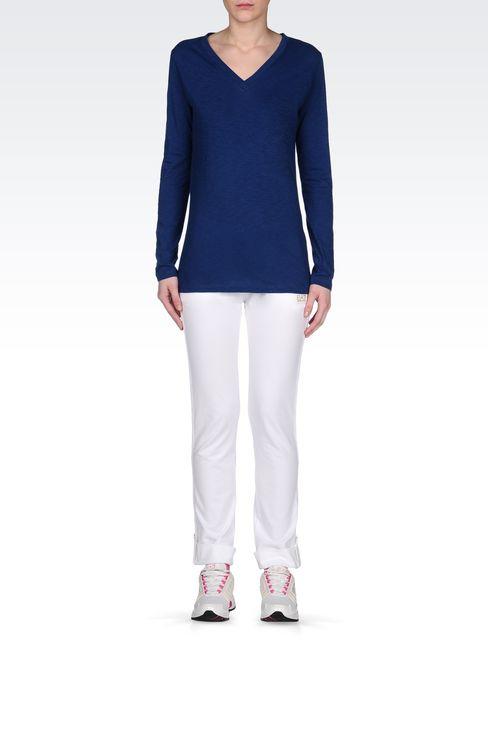 V NECK COTTON T-SHIRT: Long sleeved t-shirts Women by Armani - 1