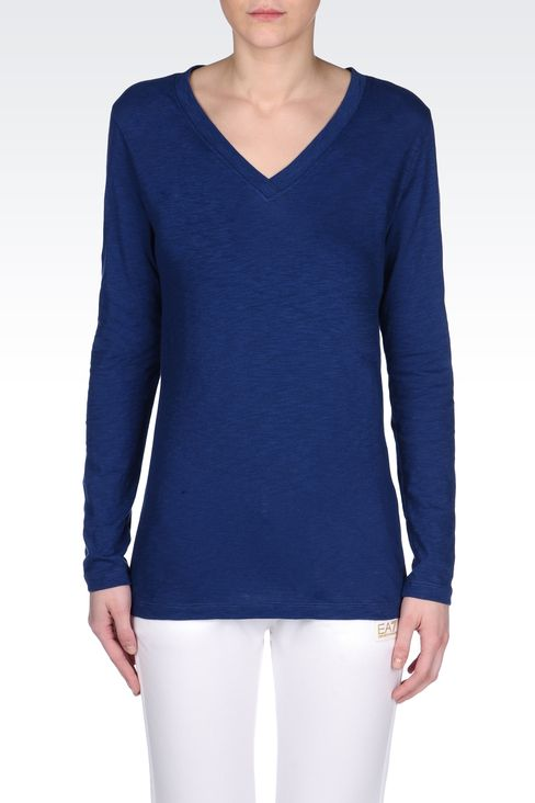 V NECK COTTON T-SHIRT: Long sleeved t-shirts Women by Armani - 2