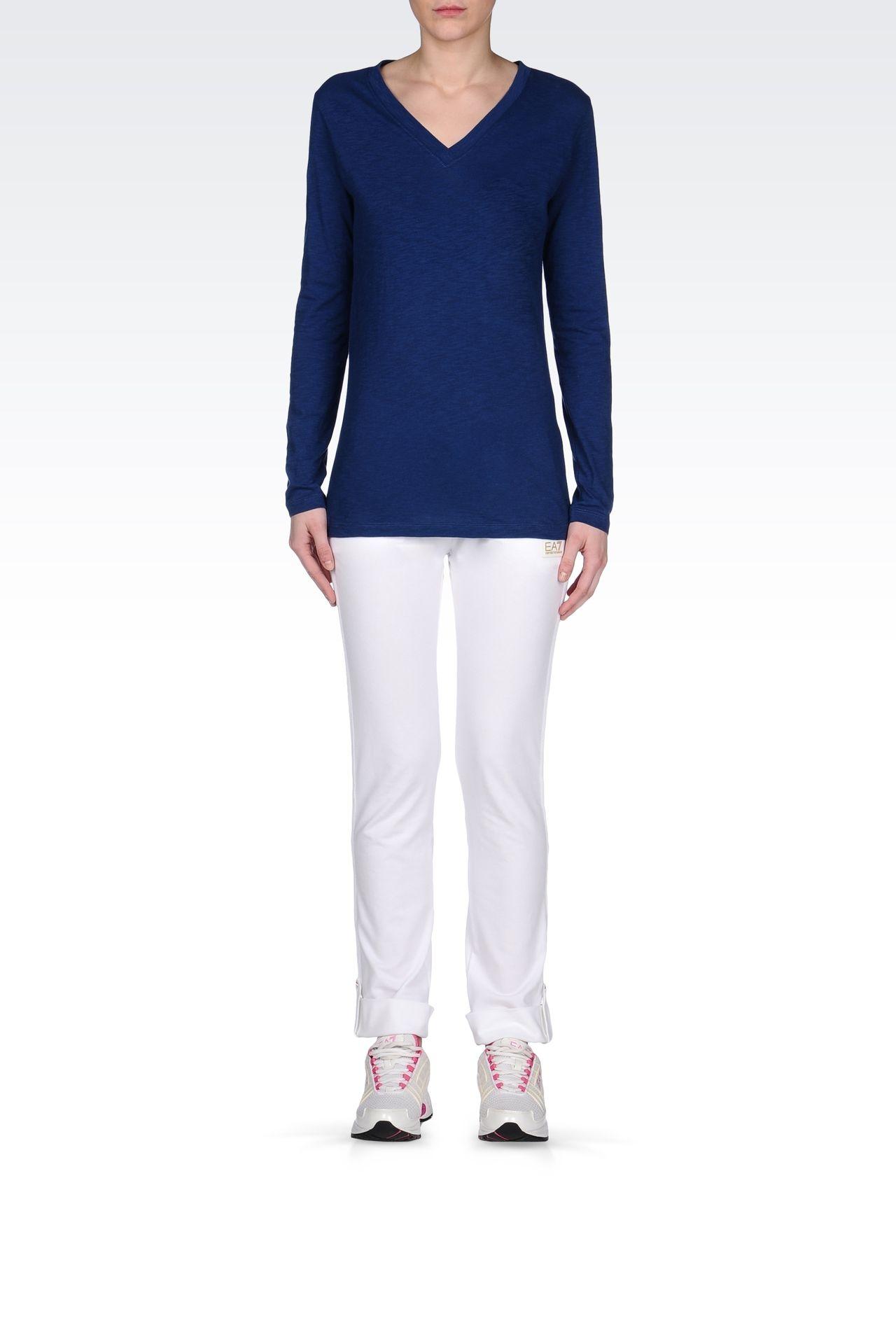 V NECK COTTON T-SHIRT: Long sleeved t-shirts Women by Armani - 0