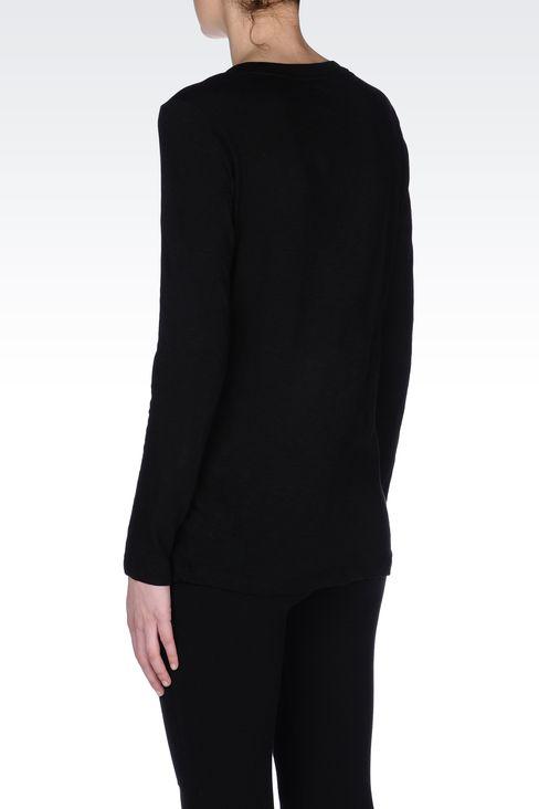 V NECK COTTON T-SHIRT: Long sleeved t-shirts Women by Armani - 3