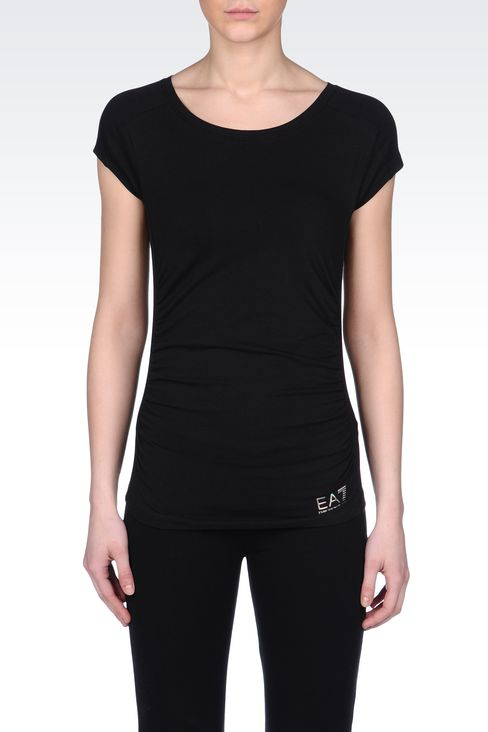 STRETCH COTTON T-SHIRT WITH LOGO: Short sleeved t-shirts Women by Armani - 2