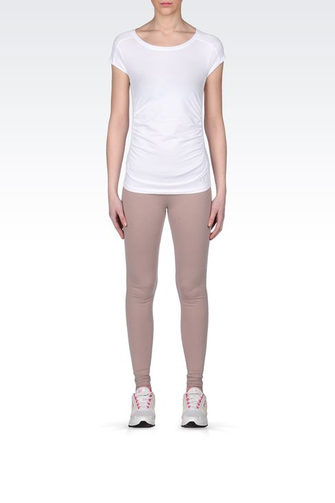 STRETCH COTTON T-SHIRT WITH LOGO: Short sleeved t-shirts Women by Armani - 1